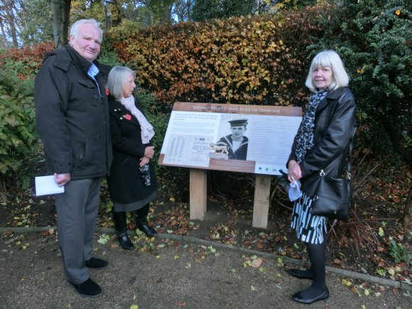 2018 Attendees at the ceremony dedicating the heritage panels in the Memorial Garden